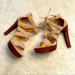 JESSICA SIMPSON Suede Leather Lace Up Heels 7.5
